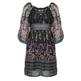 Black Paisley Print Bell Sleeve Dress